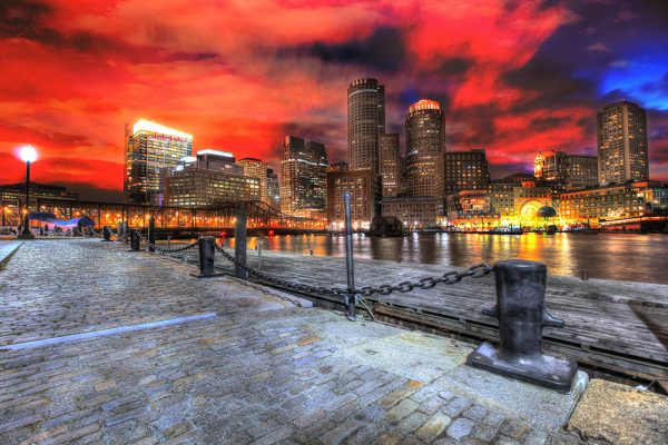 Boston Cityscape at Night 01 - Stock Photo