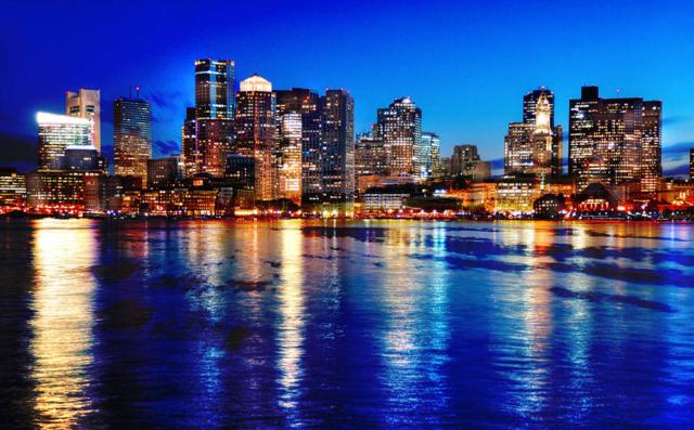 Boston Cityscape at Night 03 - Stock Photo
