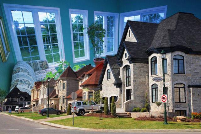 Cozy Neighborhood Photo Montage - Stock Photo