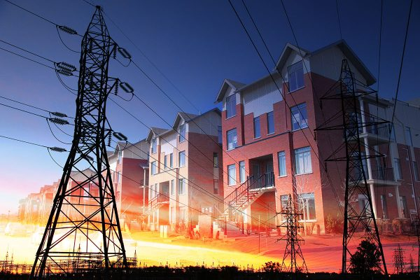 Domestic Energy Lines Photo Montage - Stock Photo