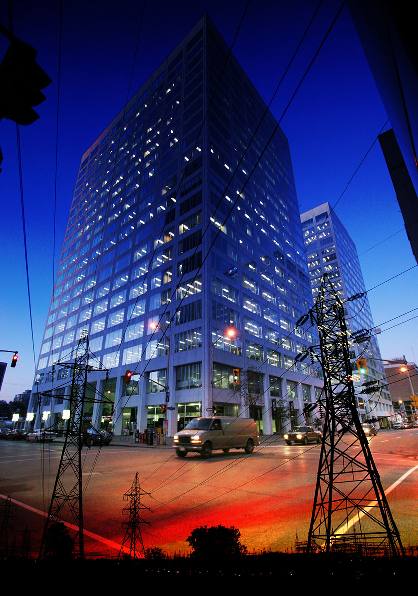 Downtown Electricity Supply Photo Montage - Stock Photo