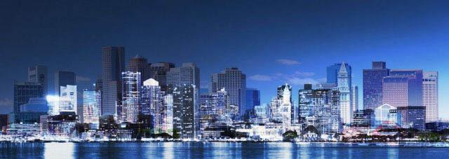 Panoramic Boston City Photo Montage - Stock Photo
