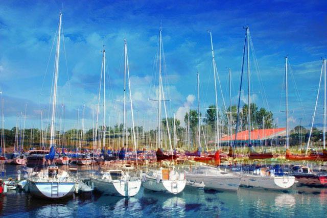 Sail Boats Marina Photo Montage - Stock Photo