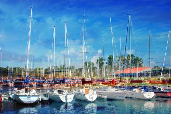 Sail Boats Marina Photo Montage - Stock Photo