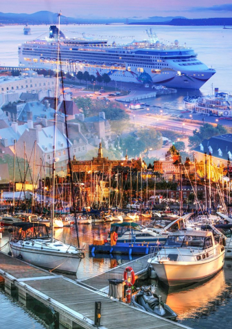 Urban Marina and Dock Photo Montage - Stock Photo