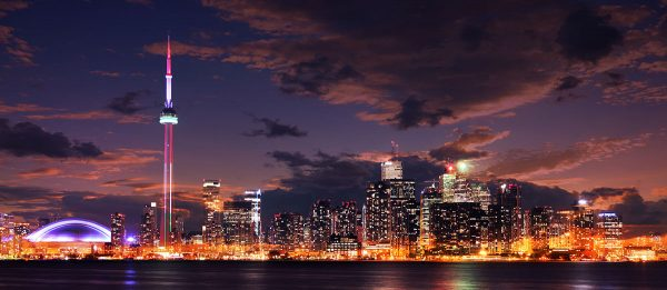 Toronto City Nighttime Skyline - Stock Photo