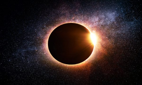 Solar Eclipse in Space - Stock Photo