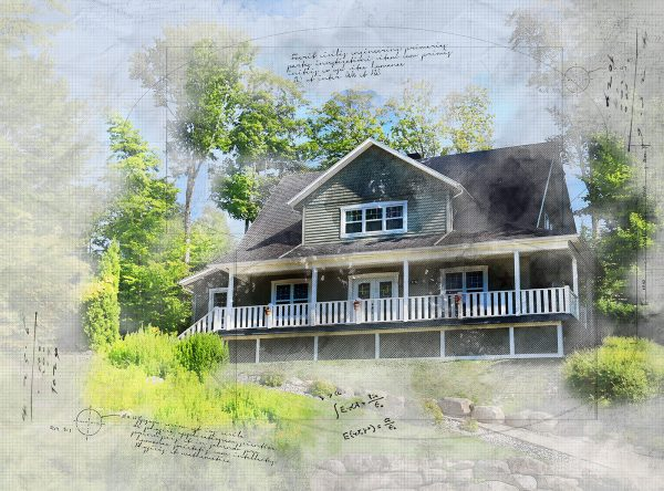Beautiful Country House Sketch Image - Stock Photo
