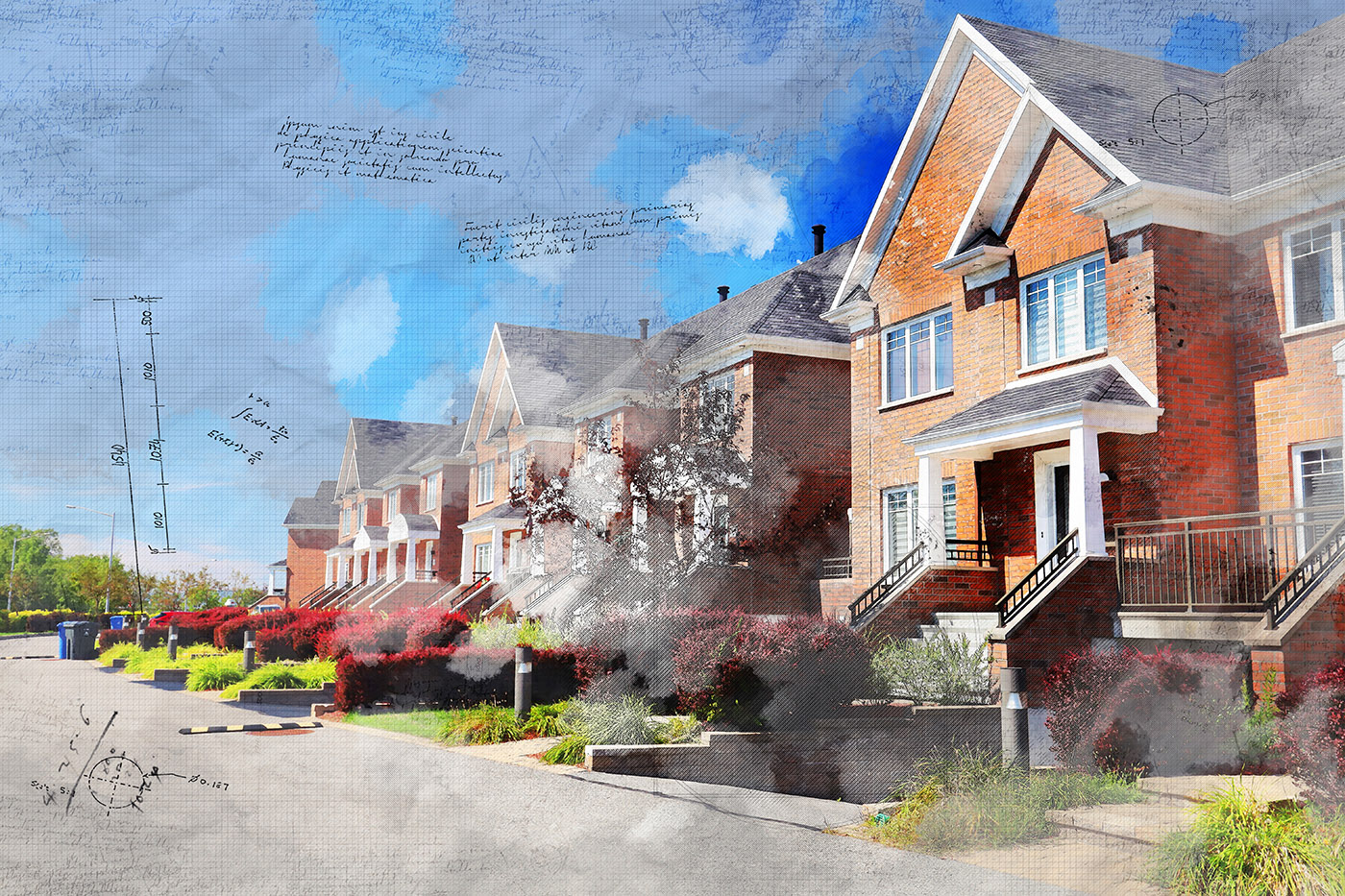 Colorful Urban Houses Sketch Image - Stock Photo