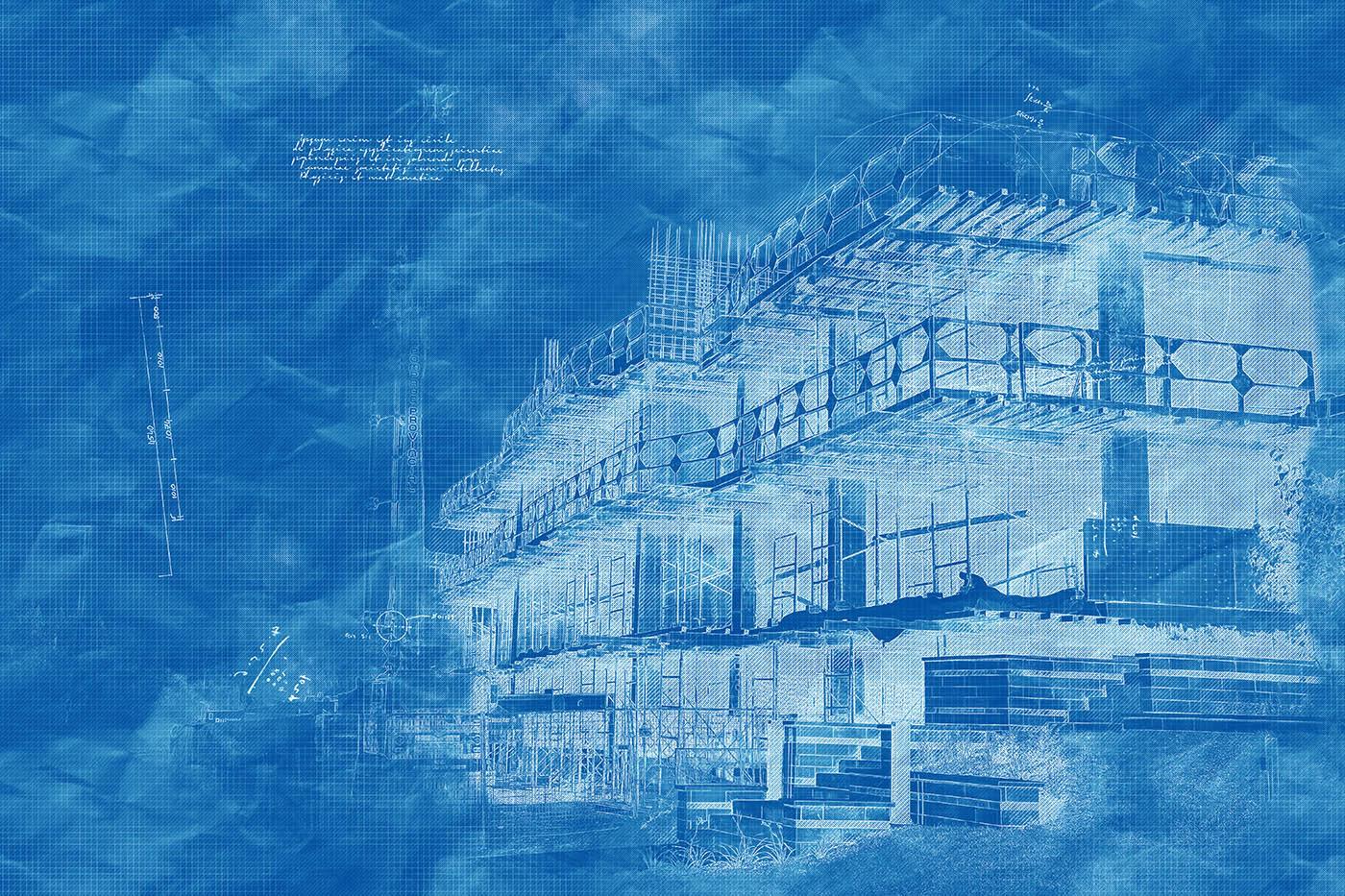 Construction Project Blueprint Sketch Image - Stock Photo