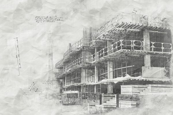 Construction Project Sketch B&W Image - Stock Photo