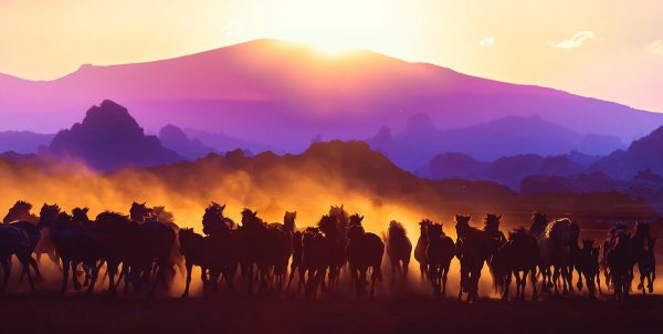 Group of Horses Running HD Photo Montage 03