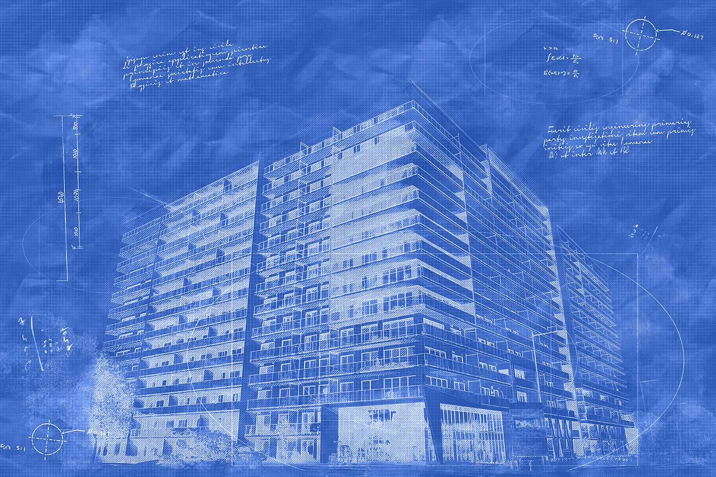 Large Condominium Building Sketch Blueprint Image - Stock Photo