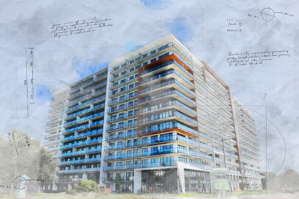 Large Condominium Building Sketch Image - Stock Photo