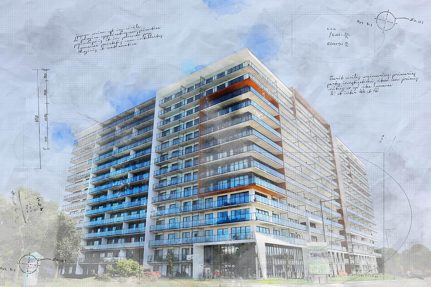 Large Condominium Building Sketch Image - Stock Photo