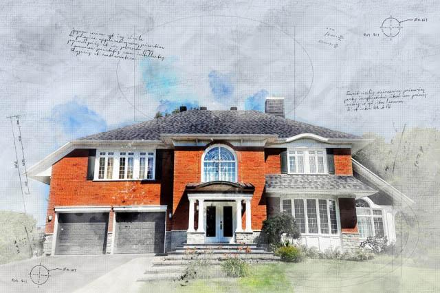 Large Luxury Habitation Sketch Image - Stock Photo