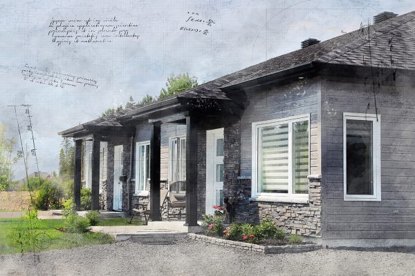 Semi Detached House Sketch Image - Stock Photo