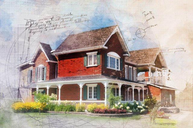 Beautiful Cottage Sketch Image - Stock Photo