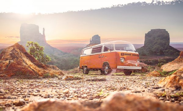 Vintage VW Camper Van Road Trip 01 - Stock Photo