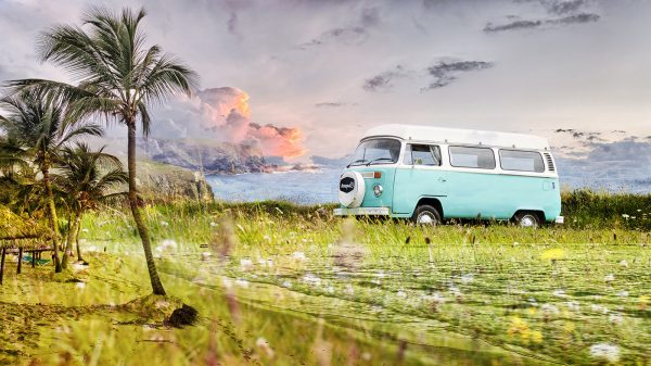Vintage VW Camper Van Road Trip 02 - Stock Photo