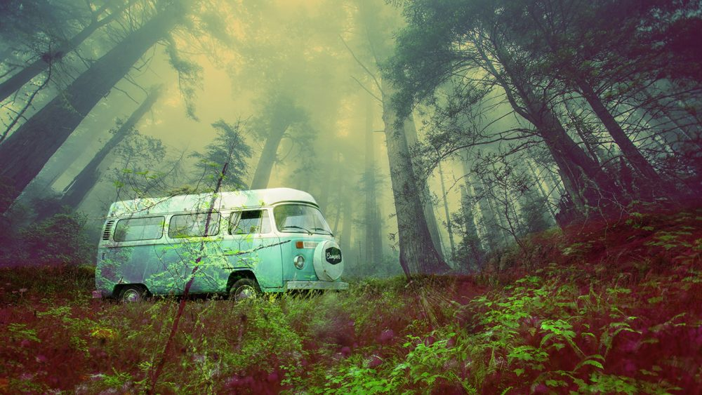 Vintage VW Camper Van Road Trip 03 - Stock Photo