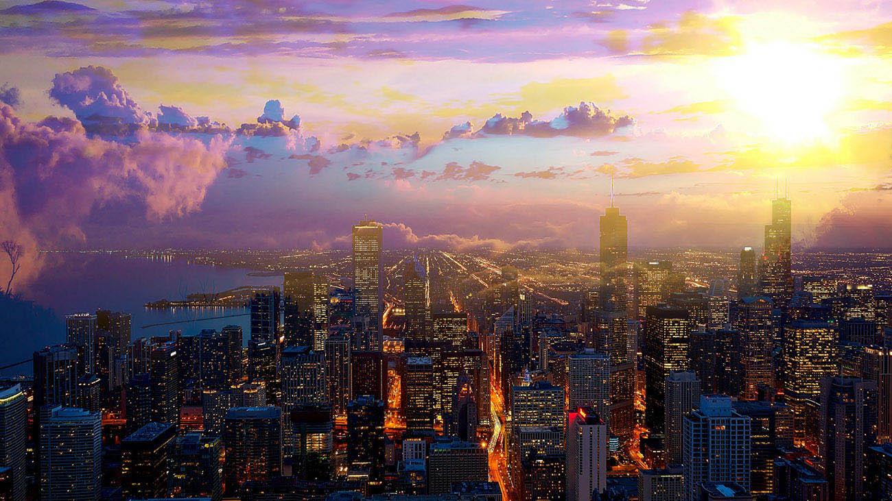 Beautiful Chicago City at Night 01 - Stock Photo
