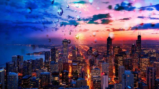 Beautiful Chicago City at Night 02 - Stock Photo