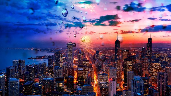 Beautiful Chicago City at Night 02 - Stock Photo