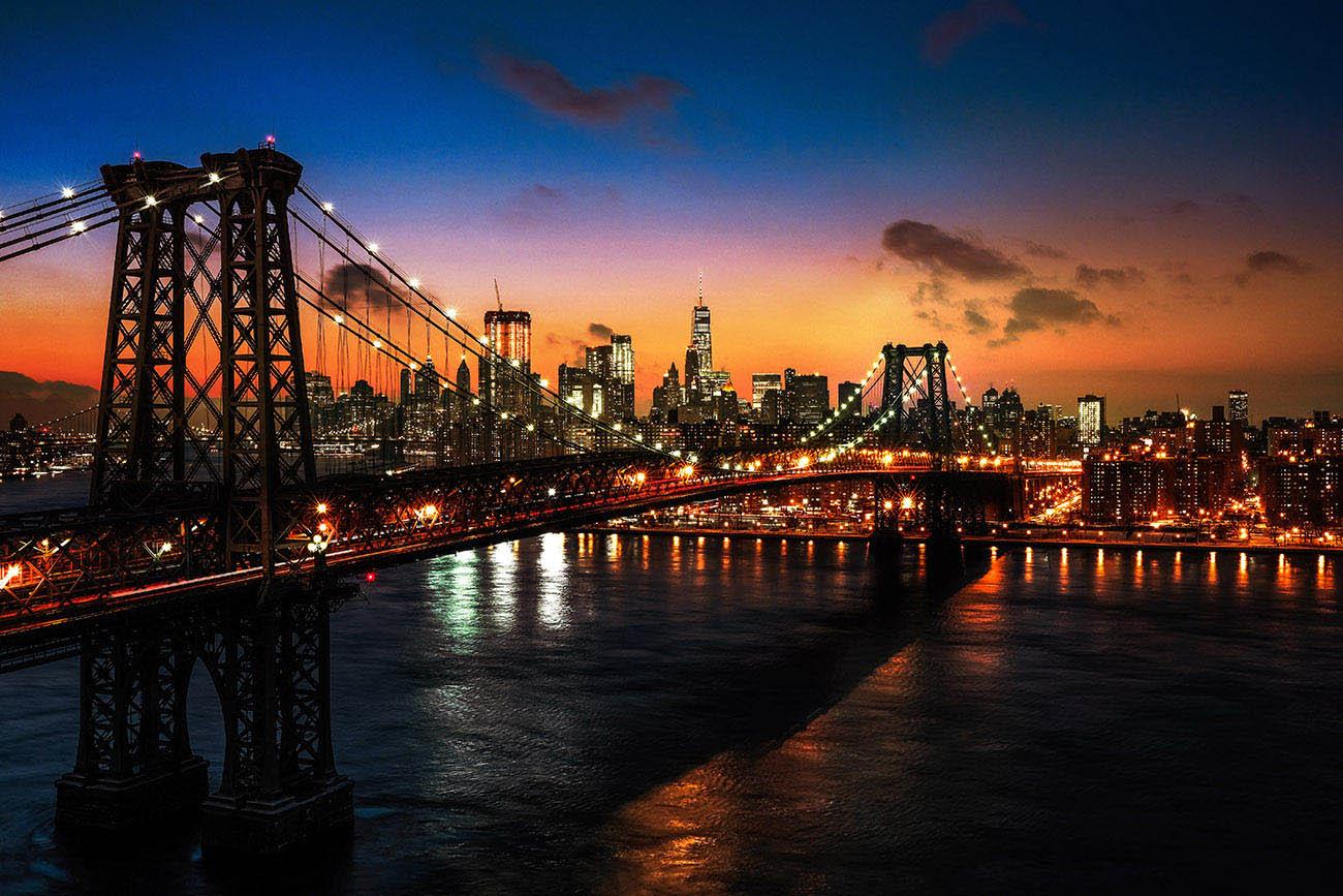 Colorful Sunset over the NYC Williamsburg Bridge 01 - Stock Photo