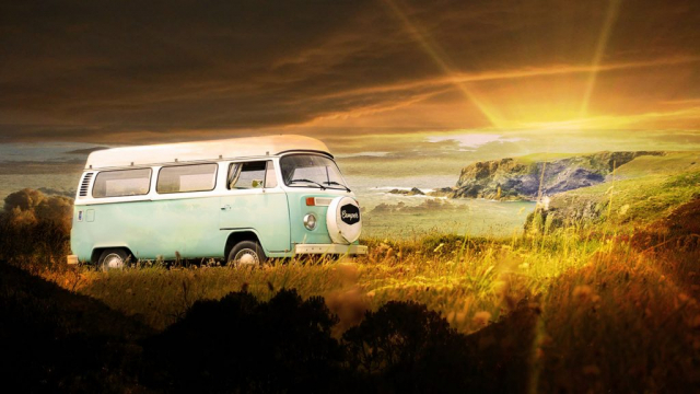 Vintage VW Camper Van Road Trip 06 - Stock Photo