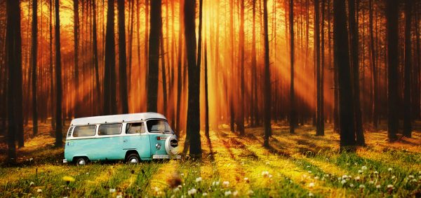 Vintage VW Camper Van Road Trip 07 - Stock Photo