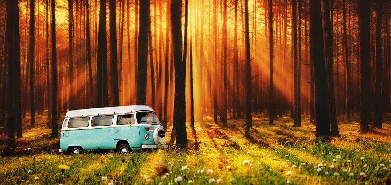 Vintage VW Camper Van Road Trip 07 - Stock Photo