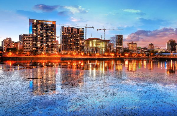 2020 Colorful Downtown Montreal Cityscape at Sunset - Stock Photo