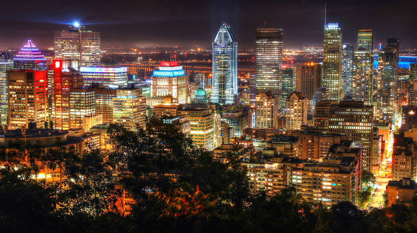 2020 Montreal City View at Night From Mount Royal Lookout Image - Stock Photo