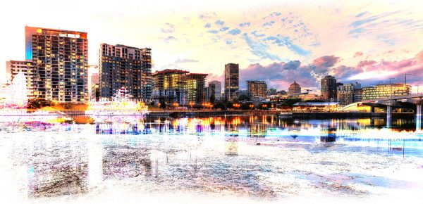 2020 Montreal Cityscape with Colorful Special Effect - Stock Photo