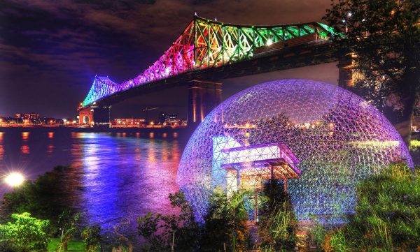 Montreal Jacques Cartier Bridge and Biosphere at Night Photo Montage - Stock Photo