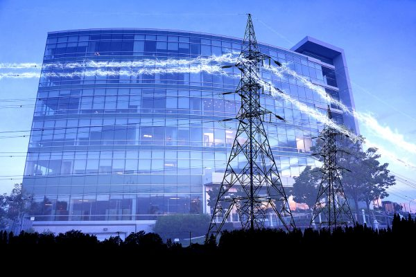 Business Electrification in Blue - Stock Photo