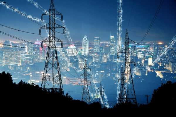 Metropolitan Electrification in Blue - Stock Photo