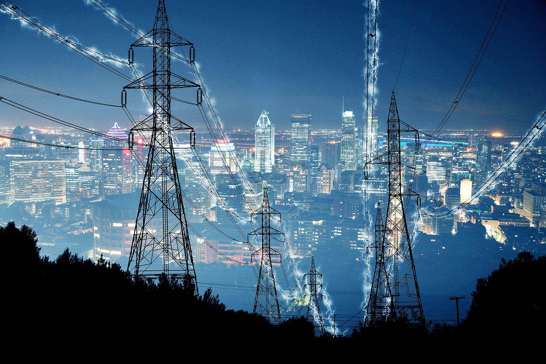 Metropolitan Electrification in Blue - Stock Photo