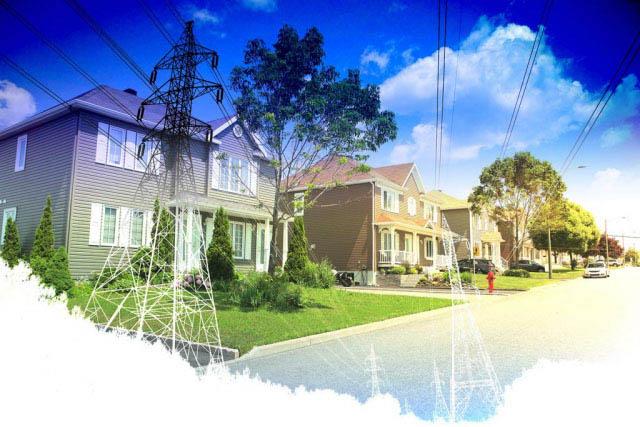 Residential Street Electrification on White - Stock Photo