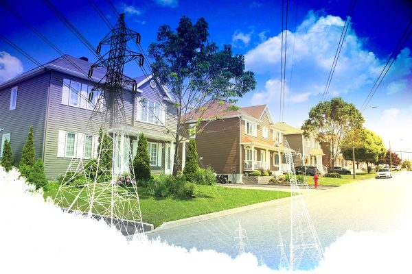 Residential Street Electrification on White - Stock Photo