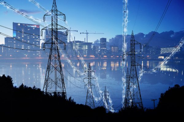 Urban Electrification Concept in Blue - Stock Photo