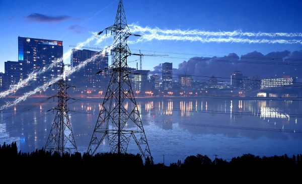 Urban Electrification in Blue - Stock Photo