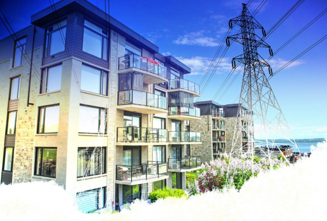 Urban Residential Electrification on White - Stock Photo